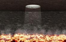 Fiery Room With Flames On The Floor, With Hole On The Ceiling From Which Light Enters, Conceptual, 3d Rendering, 3d Illustration