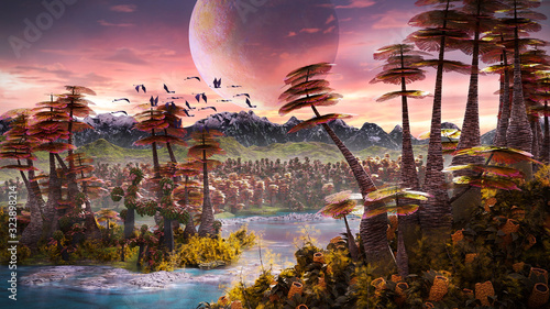 Photo alien planet landscape, beautiful forest the surface of an exoplanet