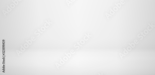Fototapeta Realistic studio wall, minimal 3d shelf. Floor, horizontal realistic empty shelf in vector background. obraz