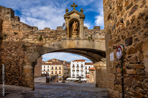 Arco de la Estrella, Arch of the Star at the Main square of Caceres, Spain