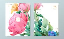 Floral Frame Set, Line Flowers...