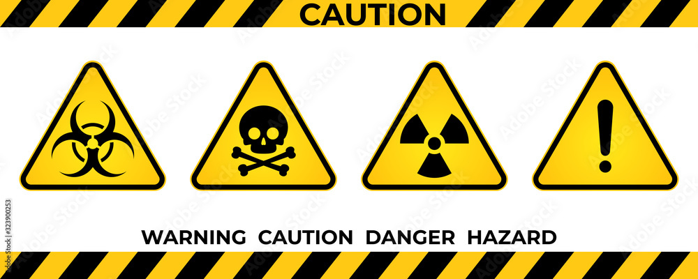 Fototapeta Set of hazard warning signs. Black yellow triangle warning safety and caution signs. Information security hazard vector symbol, icon. Vector illustration
