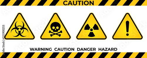 Set of hazard warning signs. Black yellow triangle warning safety and caution signs. Information security hazard vector symbol, icon. Vector illustration - fototapety na wymiar