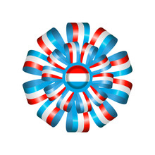 Luxembourg Flag, Rosette And Pennant, Isolated On White