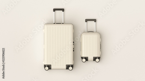 Carta da parati White luggage set on white background, top view image, flat lay composition