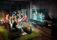 Group Of Friends Watching TV, ...