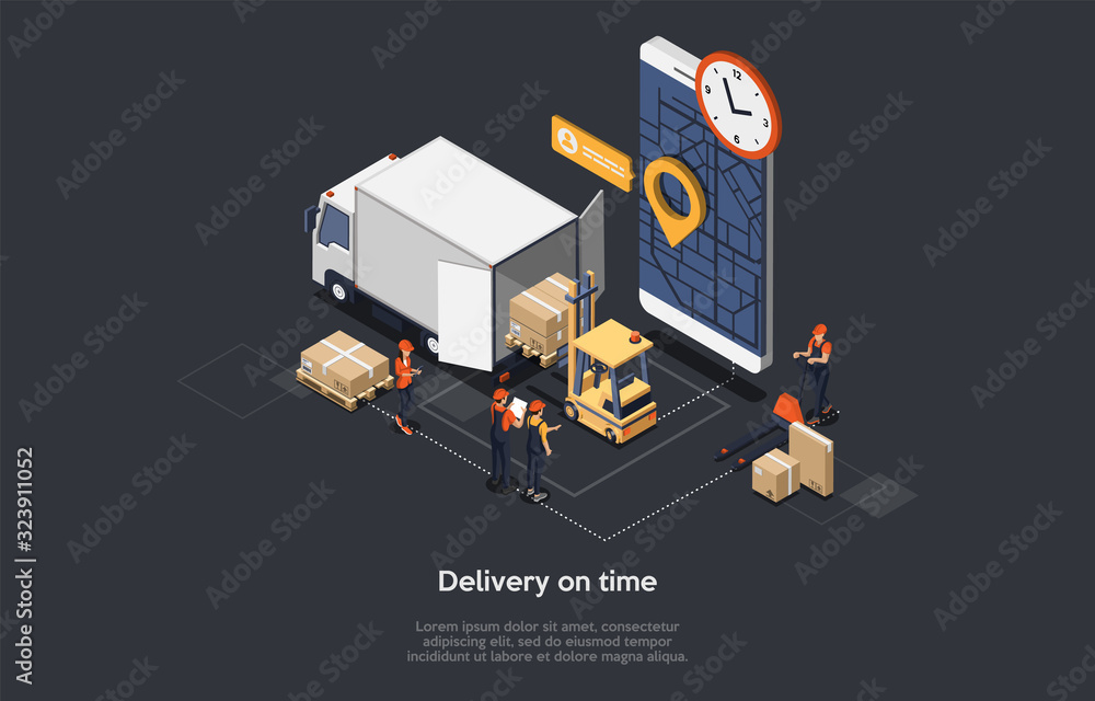 Fototapeta Isometric Concept Of On Time Delivery, Logistics Delivery Service And Staff. Workers Are Loading And Unloading Goods. Manager Controls Delivery Deadlines And Manage The Process. Vector illustration
