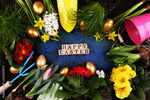 Fototapety, obrazy: Happy Easter wooden letter. Holiday concept design. Happy Easter flat lay with flower and egg