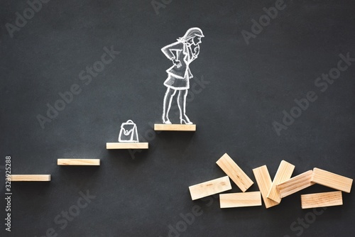 Concept for Career Planning and Achieving Adversity For Women in Business Wallpaper Mural