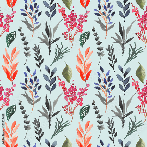 Fototapety, obrazy: tropical floral watercolor seamless pattern