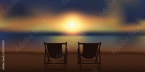 Billede på lærred two deck chairs at magic sunset on the beach vector illustration EPS10