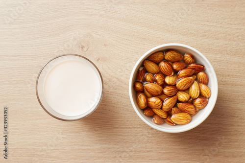 Homemade vegan almond milk and water soaked almonds Wallpaper Mural