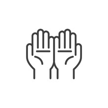 Hand Pray Line Icon. Linear St...