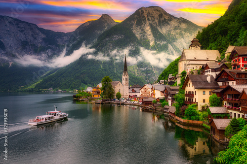 Beautiful Hallstatt village in Alps at sunset, Austria