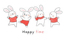 Draw Collection Rabbit On White Doodle Cartoon Style.