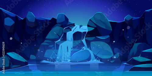 Vector cartoon waterfall and rocks at night