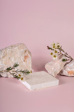 Pastel Pink And White Stone Marble Display Set For Product Background Decorate With White Flower