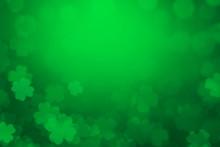 ST Patrick's Day Background Green Clover Leaf Bokeh Lights Defocused For ST Patrick's Day Celebration Design Background