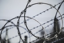 Selective Focus Shot Of A Rolled Razor Barbed Wire With A Blurred Background