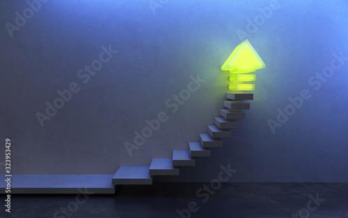 Foto stairs going  upward, 3d rendering