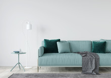 Living Room With A Mint Sofa A...