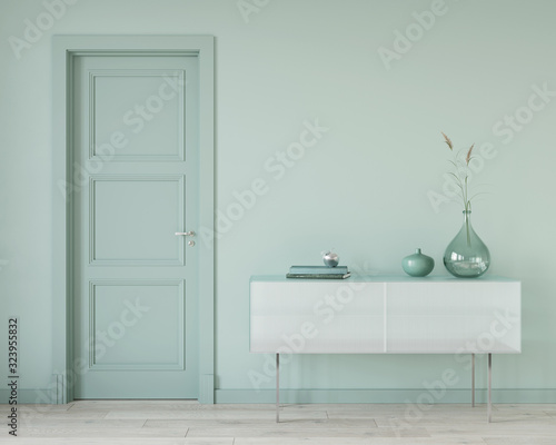 Fototapeta Mint color interior with a glass chest of drawers obraz