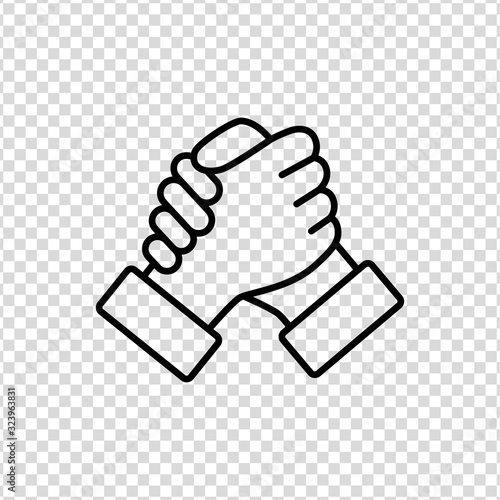 Soul brother handshake thumb clasp homie line icon on a transparent background Fototapet