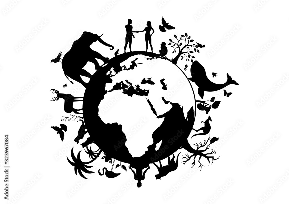 Fototapeta Planet Earth with animals and humans black silhouette vector. Planet Earth black silhouette. Wild animals silhouette. Planet Earth with fauna and flora vector. Animals and people on planet earth
