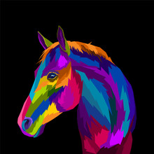 Colorful Horse Pop Art Portrai...