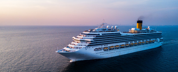 Aerial view large cruise ship at sea, Passenger cruise ship vessel