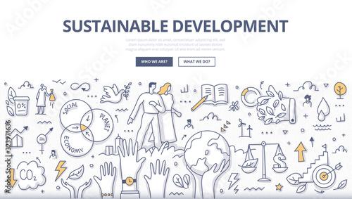 Obraz Sustainable Development Doodle Concept - fototapety do salonu
