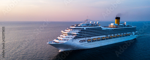 Stampa su Tela Aerial view large cruise ship at sea, Passenger cruise ship vessel
