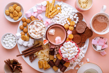 Hot Chocolate, Marshmallows, Chocolates And Cookies Charcuterie Board, Top View