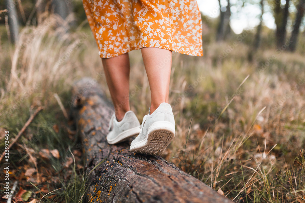 Fototapeta Two young women walking through the forest wearing dresses
