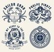 Vintage sea monochrome logos