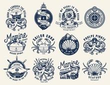Vintage Monochrome Nautical Emblems Set
