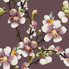 Panel Szklany Podświetlane Kwiaty Apple tree flowers Illustration. Watercolor background.