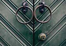 Close-up Green Door Gate To Ba...