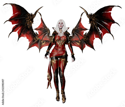 Fotografie, Obraz A 3D rendered fictional character as a vampire mistress with red bat wings and a leather outfit isolated on a white background