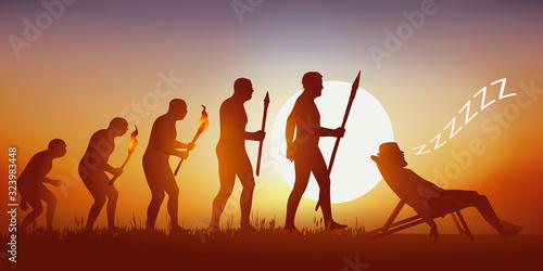 Fototapeta Concept du repos et de la détente, avec le symbole de l'évolution de Darwin qui aboutit sur un homme allongé sur un transat en train de dormir