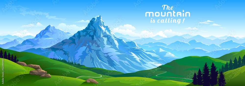 Fototapeta Crusty ice surface of the mountains with beautiful meadows and ranges of hills