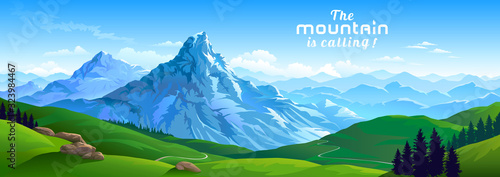 Crusty ice surface of the mountains with beautiful meadows and ranges of hills Canvas