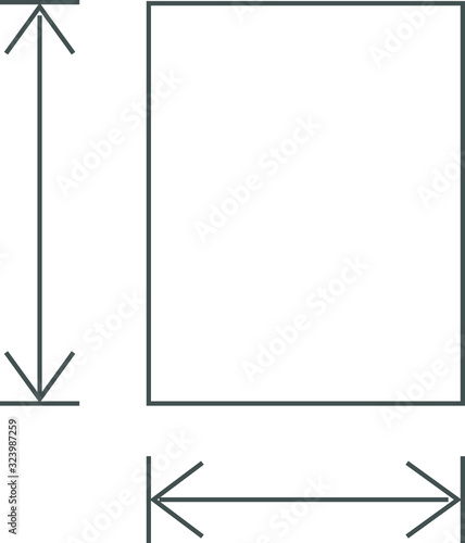 Fototapeta height and width icon, area or size, dimension icon
