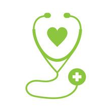 Stethoscope Icon On White Back...