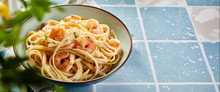 Panorama Banner With Italian Pasta And Scampi
