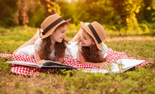 Cheerful Sisters Reading Books...