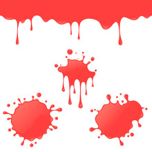 Vector Red Splash And Dripping Set. To See The Other Vector Splash Illustrations , Please Check Splash And Dripping Collection.