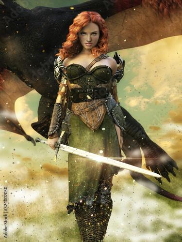 Leinwand Poster 3d illustration warrior girl dragon flying