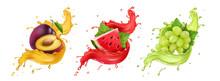 Set Of Fruit Juice Splash. Whi...