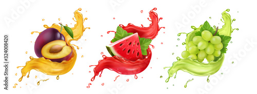 Fototapeta Set of fruit juice splash. White grapes, watermelon, plum Vector obraz